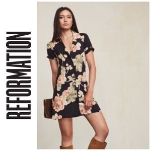 REFORMATION | Peony Floral Shirt Dress, Size 4